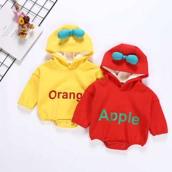 New Born Costume Baby Girl Bodysuit Baby Clothes Apple Long Sleeve Jumpsuit Boy Cotton Hooded and Winter Keep Warm