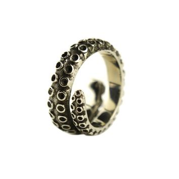 Unisex Vintage Stainless Steel Octopus Tentacle Wrap Ring (Adjustable)