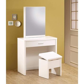 Modish Vanity with Hidden Mirror Storage and Lift-Top Stool, 2 Piece, White
