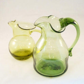 Vintage Glass Pitchers Vases LIME and PEAR Hand Blown 1970s