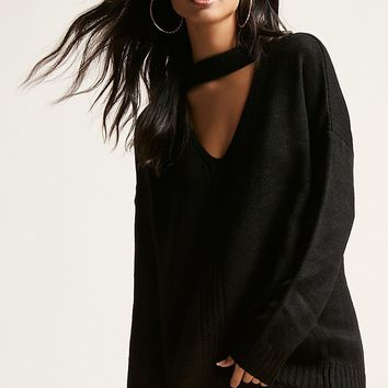 V-Cutout Sweater
