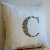 Ivory White Velvet throw pillows with studded embroidery -Personalized sequin pillow -cream velvet silver stud -monogram pillows-sofa pillow