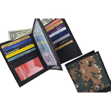 RFID Blocking Camouflage Bifold Hipster Multi Credit Card ID Holder Camo Wallet Premium Leather