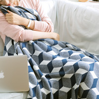 Bedding Warm Geometric Knitted Cotton Blanket  [9595848527]