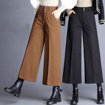 Womens Woolen wide-leg pants