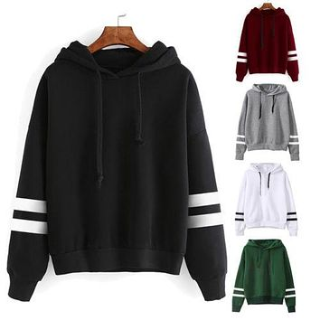 Varsity Hoodie - Fashion Women Long Sleeve Hoodie Sweatshirt Jumper Hooded Pullover Casual Blouse