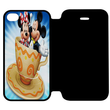 Mickey Mouse and Minnie Mouse Cute Couple Cartoon iPhone 4 | 4S Flip Case Cover