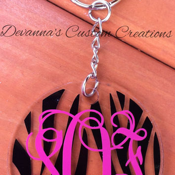 Monogram Zebra Background Circle Key Chain