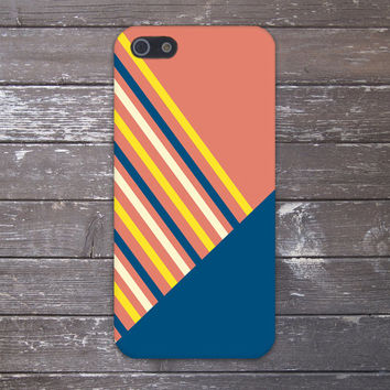 Geometric Peach x Navy Stripes Design Case for iPhone 6 6 Plus iPhone 5 5s 5c iPhone 4 4s Samsung Galaxy s5 s4 & s3 and Note 4 3 2