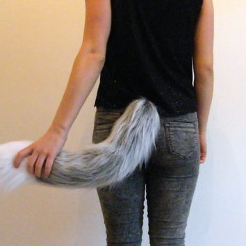 Grey Wolf Tail - Faux Fur Clip On Cosplay