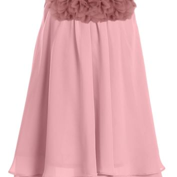 Girls Rose Pink Chiffon Shift Dress with Flower Trim 2T-14