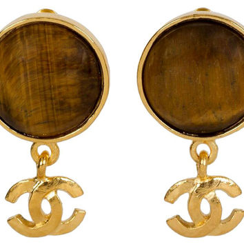 Chanel Logo Tiger's Eye Dangle Earrings
