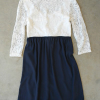 Lace & Navy Dress : Vintage Inspired Clothing & Affordable Dresses, deloom | Modern. Vintage. Crafted.