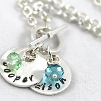 Personalized Necklace, Toggle Necklace, Mommy Necklace, New Baby Necklace, All Sterling Silver Jewelry, Birthstone Necklace