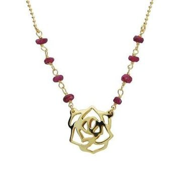 Red Ruby Golden Rose Necklace