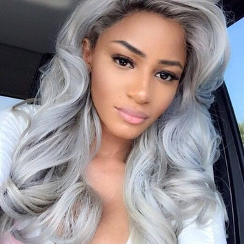 Hotsale Women Cute Sexy 3 Colors Lace Front Long Straight Synthetic Wigs Black Long Wigs  A888