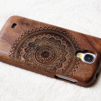 wood Samsung galaxy S5 case, , cases for Samsung Galaxy S3,S4,S5  Samsung Galaxy Note2 , 3 ,4  case,Engraved mandala wooden  case