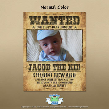 Personalized Baby Western Wanted Poster with Customized Photo and Name 8x10 Nursery print