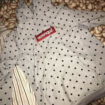 DCCKSP2 Supreme Medium Grey Comme Des Garcons Polka Dot Box Logo Hoodie