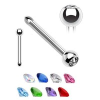 3 Nose Rings Bone Stud Nose Blue Gem 20G with 1 Nose Retainer