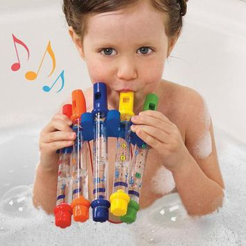 ICIK272 5pcs/1 Row New Kids Children Colorful Water Flutes Bath Tub Tunes Toy Fun Music Sounds Bath Toy