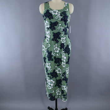 Vintage 1980s Hilo Hattie Hawaiian Maxi Dress / Green Floral Print