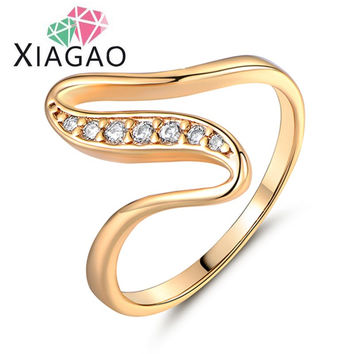 XIAGAO Cute X Shaped Ring Gold Plated Ring White Crystal CZ Zirconia Engagement Ring for Women Jewelry Best Gift For Girls