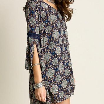 Bell Sleeve Embroidered Paisley Shift Tunic Dress
