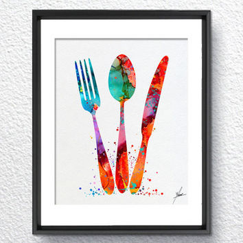 Kitchen Cutlery Fork Knife Spoon Watercolor Art Print, Watercolor Art Painting, Dining Room Art, Kitchen Deco, House Warming Gift, Item 328
