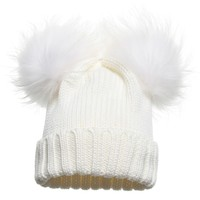 Girls Ivory Wool Knitted Hat with Fur Pom-Poms