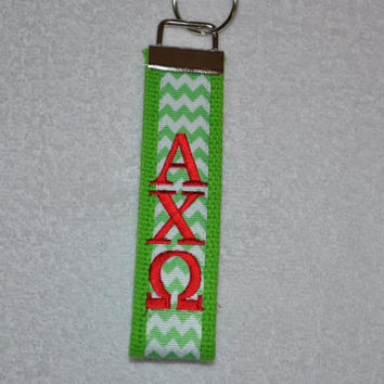 Alpha Chi Omega Sorority (OFFICIAL LICENSED PRODUCT) Monogrammed/Embroidery Key Fob Keychain Cotton Webbing Ribbon Wristlet