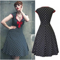 Audrey Hepburn Style Vintage 1950s Rockabilly Swing Pin Up Evening Dress NEW CLASSY Vintage Cocktail Dresses r2003