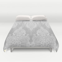 Lace & Shadows 2 - Monochrome Moroccan doodle Duvet Cover by Micklyn