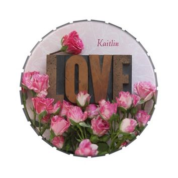 Miniature roses with love word candy tin