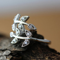 Leaf Branch Ring Adjustable Twig Ring Silver Plated Jewelry gift idea Open Free size Wrap Ring VII