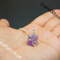 Genuine cubic amethyst 925 sterling silver necklace chakra crystal healing necklace amethyst healing wrapped tiny silver birthstone necklace