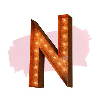 "24"" Letter N Lighted Vintage Marquee Letters (Modern Font/Rustic)"
