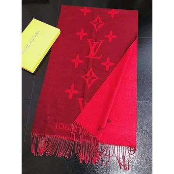 Louis Vuitton LV Autumn Winter Fashionable Couple Cashmere Cape Tassel Scarf Scarves Shawl Accessories Red