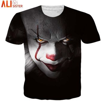 Alisister 3D Clown T Shirt Skull Skeleton Summer T-shirts Men Women Hip Hop Punk Gothic Shirts Vintage Rock Anime Tees Tops