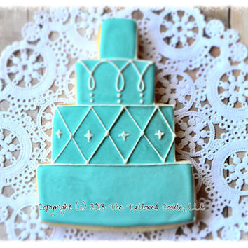 Decorated, Wedding Cake, Personalized with Monogram, and Wedding Date, Wedding Party,  Shortbread Sugar Cookie, Favors