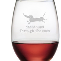 Dachshund Through Stemless Wine Glasses ~ Set of 4