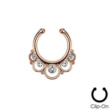 Ear Plugs Hot Sale Belly Button Rings 2015 New Fake Nose Ring Clip On Septum For Clicker Non Piercing Hoop Cz Cubic Zirconia