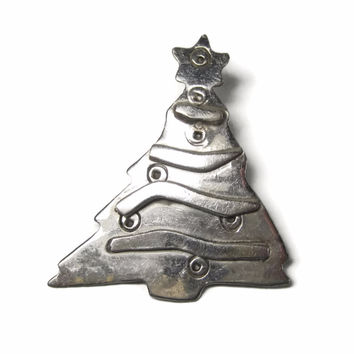 Vintage Christmas Tree Pendant Mexican Sterling