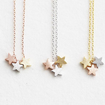 3 stars necklace, tiny three star gold, silver, rose gold, dainty star necklace, wedding gifts, bridesmaid gifts