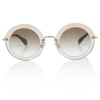 Miu Miu Light Blue Gradient Round Sunglasses | Sunglasses by Miu Miu | Liberty.co.uk