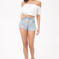 Eyelet Ruffle Trim Top