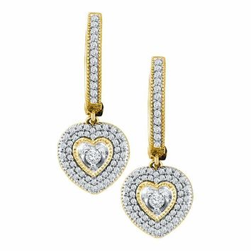 10kt Yellow Gold Women's Round Diamond Heart Dangle Earrings 3-4 Cttw - FREE Shipping (USA/CAN)