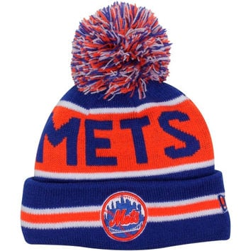 c41d4ef6bb1d0 New Era New York Mets Youth The Coach Cuffed Knit Hat with Pom - Royal  Blue Orange - h