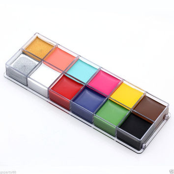 Fashion 12in1 Flash Color Cosmetic Case Makeup Palette for Eyes Cheeks Lips (Color: Multicolor) = 1945989828
