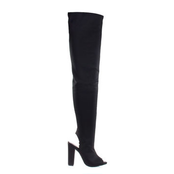 Limelight62S Black By Bamboo OTK Over Knee Peep Toe Open Back Thigh High Block Heel Boots
